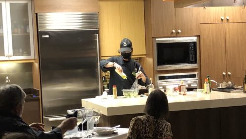 Chef demonstrating a technique