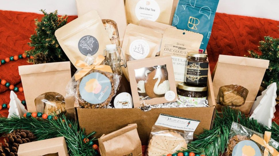 Large gift basket with assortment of packaged treats