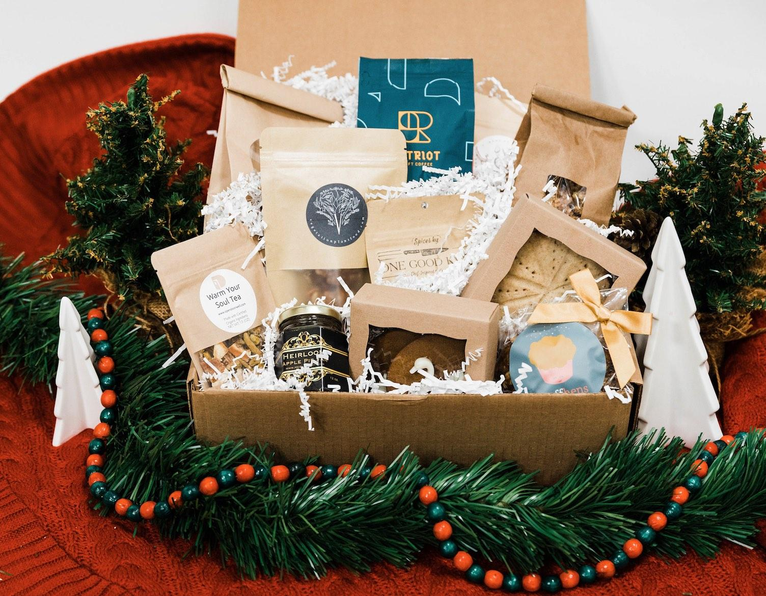 Medium gift box with assortment of treats and goodies